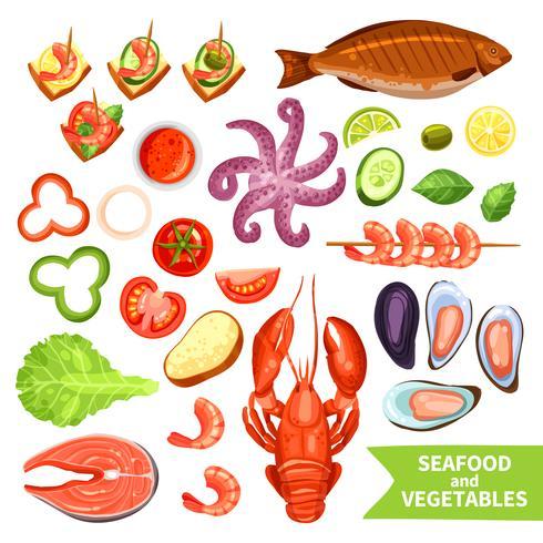 Conjunto de ícones de frutos do mar e legumes vetor