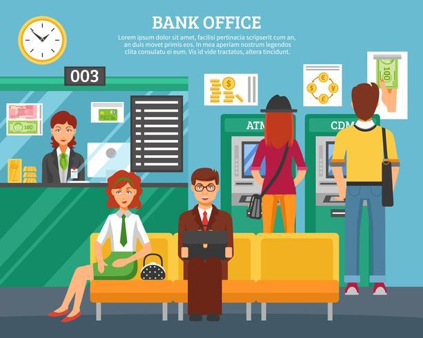 Pessoas, dentro, escritório banco, projete conceito vetor