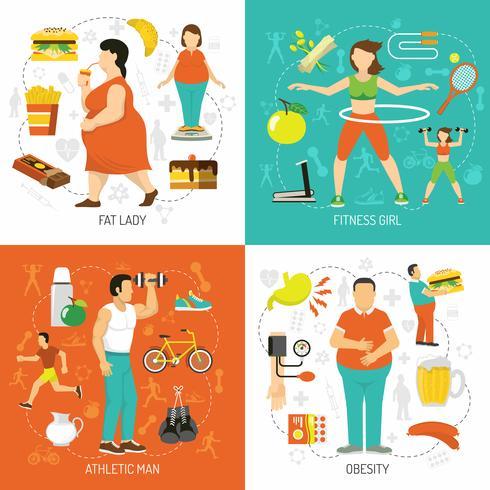 Obesidade e conceito de saúde vetor