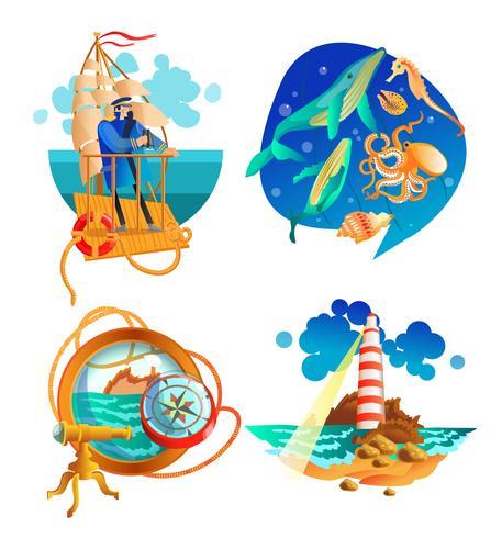 Conjunto de símbolos náutico do mar oceano vetor