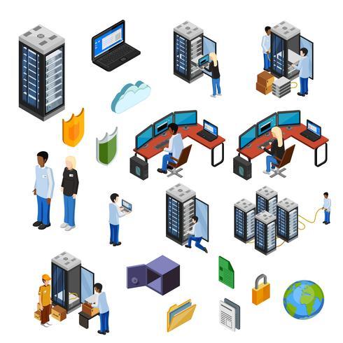 Conjunto de ícones isolados isométrico de datacenter vetor