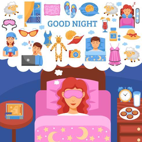 O sono saudável da noite derruba o cartaz liso vetor