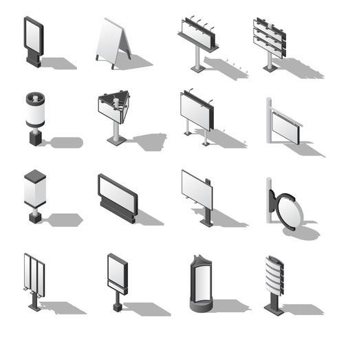 Conjunto de ícones isométrica de publicidade de rua vetor