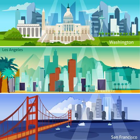 Conjunto de Banners Cityscapes americano vetor