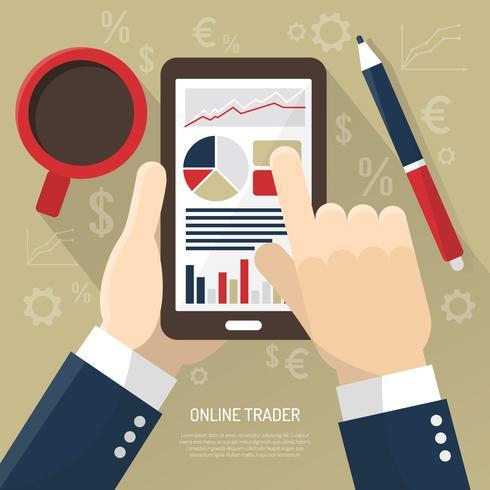 Mercado de ações no smartphone vetor