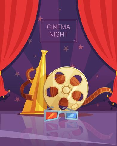 Ilustração de noite de cinema vetor