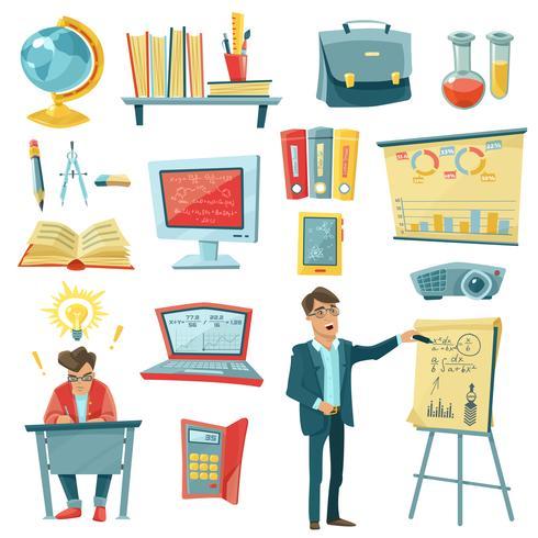 Conjunto de ícones decorativos de educação escolar vetor