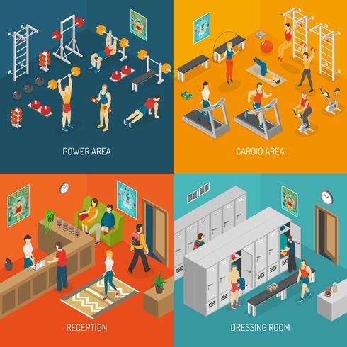 Conjunto de ícones de conceito isométrica de fitness vetor