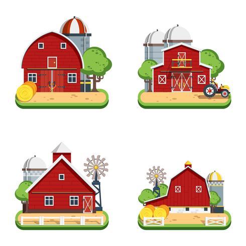 Fazenda plana isolado ícones decorativos vetor