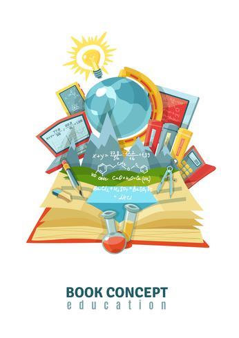 Open Book Education Concept Composição abstrata vetor