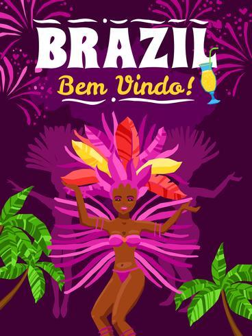 Cartaz do carnaval de Brasil vetor