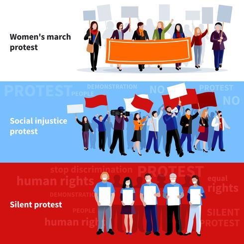 Banners de pessoas de protesto de demonstração vetor