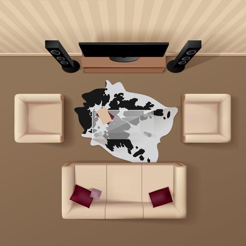 Imagem realista da sala de estar vista superior vetor