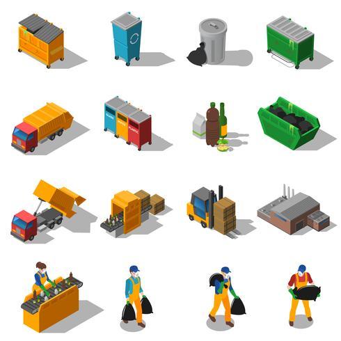 Reciclagem de lixo isométrica coleção de ícones vetor