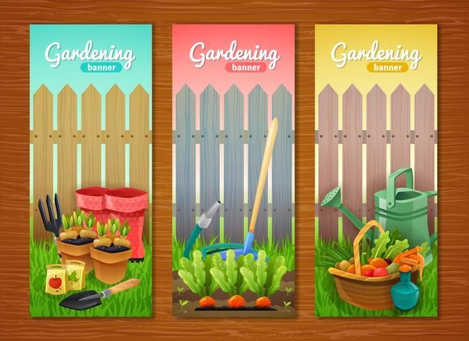 Coleção colorida de banners verticais de jardinagem vetor