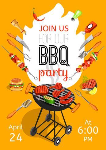 Cartaz liso do anúncio do partido do BBQ vetor