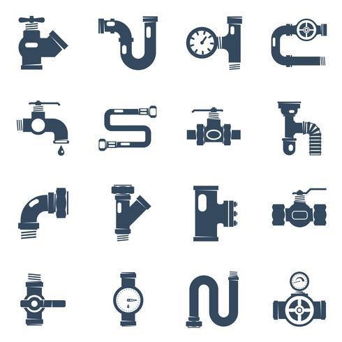 Conjunto de ícones brancos pretos de tubos vetor