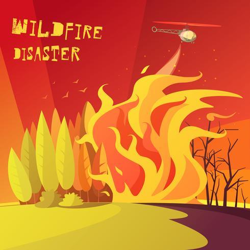 Ilustração de desastre de incêndio vetor
