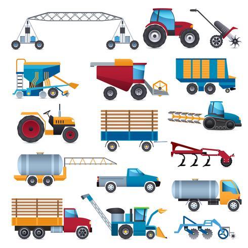 Conjunto de ícones de máquinas agrícolas vetor