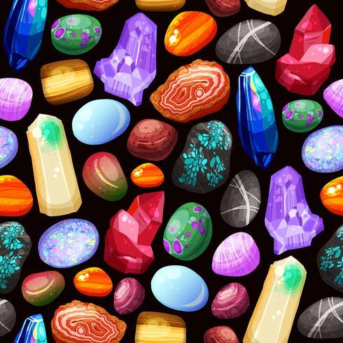 Padrão sem emenda de pedras pedras cristais vetor