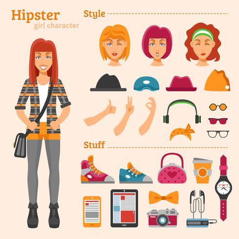 Hipster Girl Character Decorative Icons Set vetor