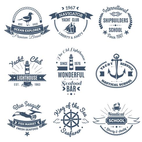 Rótulos e logotipos náuticos marinhos vetor
