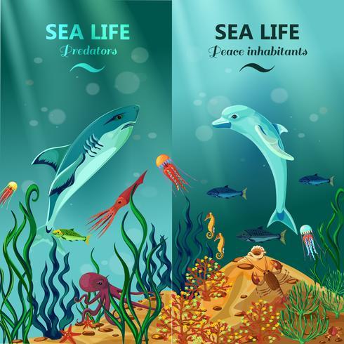 Banners verticais de vida subaquática do mar vetor