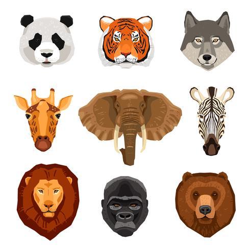 Conjunto de retratos de animais dos desenhos animados vetor
