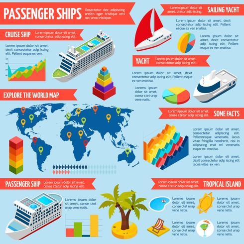 Passageiros Navios Iates Barcos Isométricos Infográficos vetor