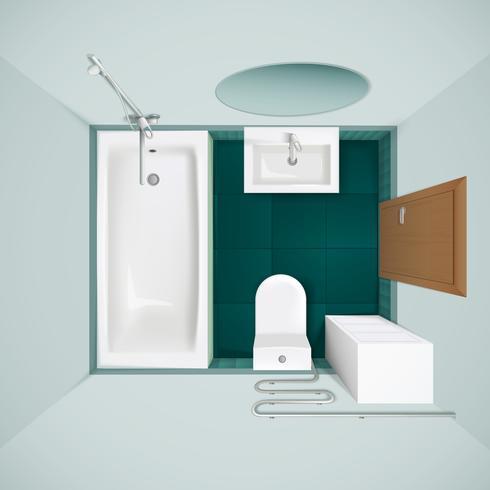 Imagem realista de vista superior Interior de casa de banho vetor