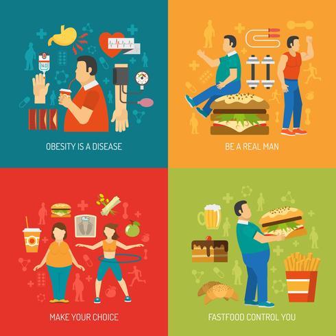 Obesidade Concept Flat vetor