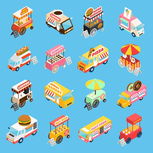 Conjunto de ícones isométrica de carrinhos de comida de rua vetor