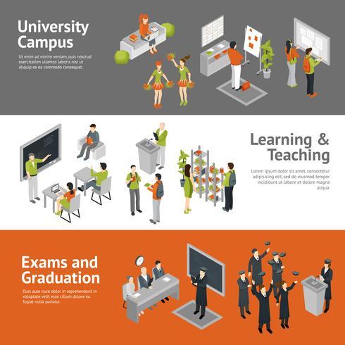 Banners isométricos da faculdade universitária vetor