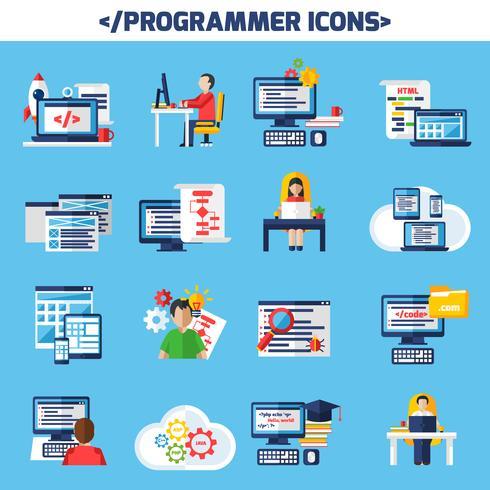 Conjunto de ícones decorativos de cor plana programador vetor