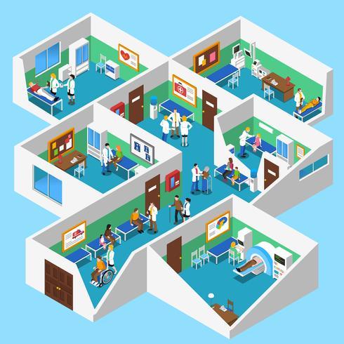 Cartaz isométrico da vista interior das facilidades do hospital vetor
