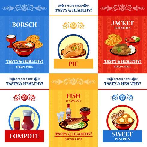 Cartaz de composição de ícones plana de culinária russa vetor