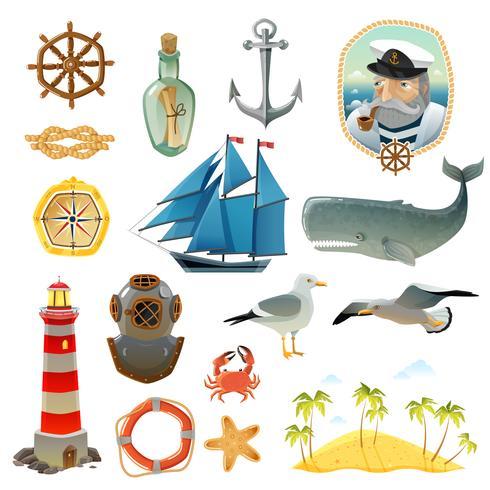 Conjunto de elementos decorativos náutico mar vetor