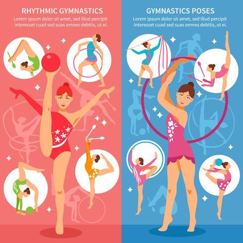 Banners verticais de ginástica rítmica vetor