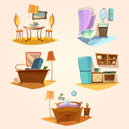 Conjunto retrô de desenhos animados interiores vetor