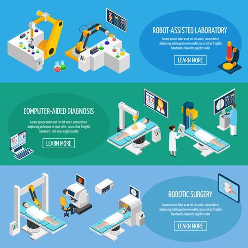 Banners isométricos de cirurgia robótica vetor