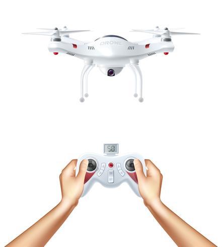 Zangão não tripulado com controle remoto vetor