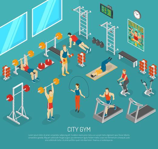 Cidade Fitness Gym Center Isometric POster vetor