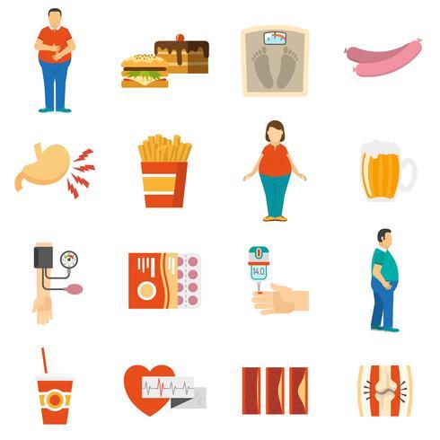 Ícones de problema de obesidade vetor