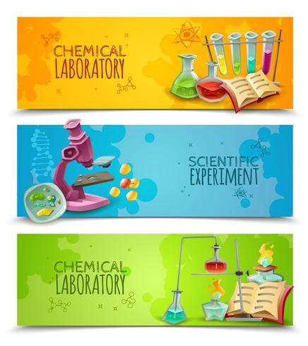 Conjunto de Banners plana de laboratório químico científico vetor