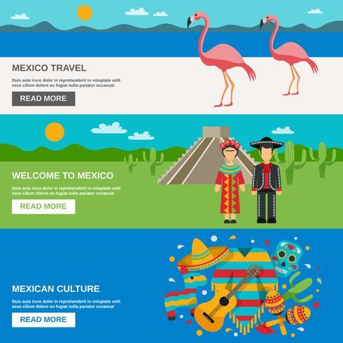 Conjunto de Banner do México vetor