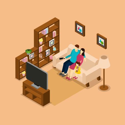 Casa Familiar Assistindo TV Bandeira Isométrica vetor