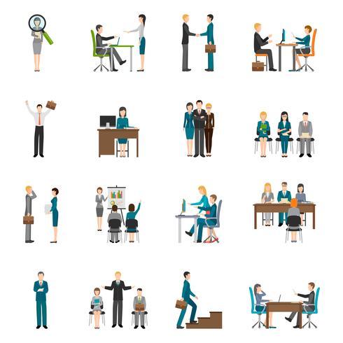 Recrutamento HR pessoas Icons Set vetor