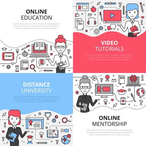Conjunto de conceito de Design de educação on-line vetor