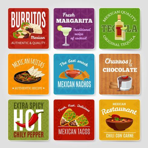 Conjunto de rótulos de comida mexicana vetor
