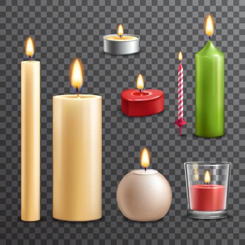 Conjunto transparente de velas vetor